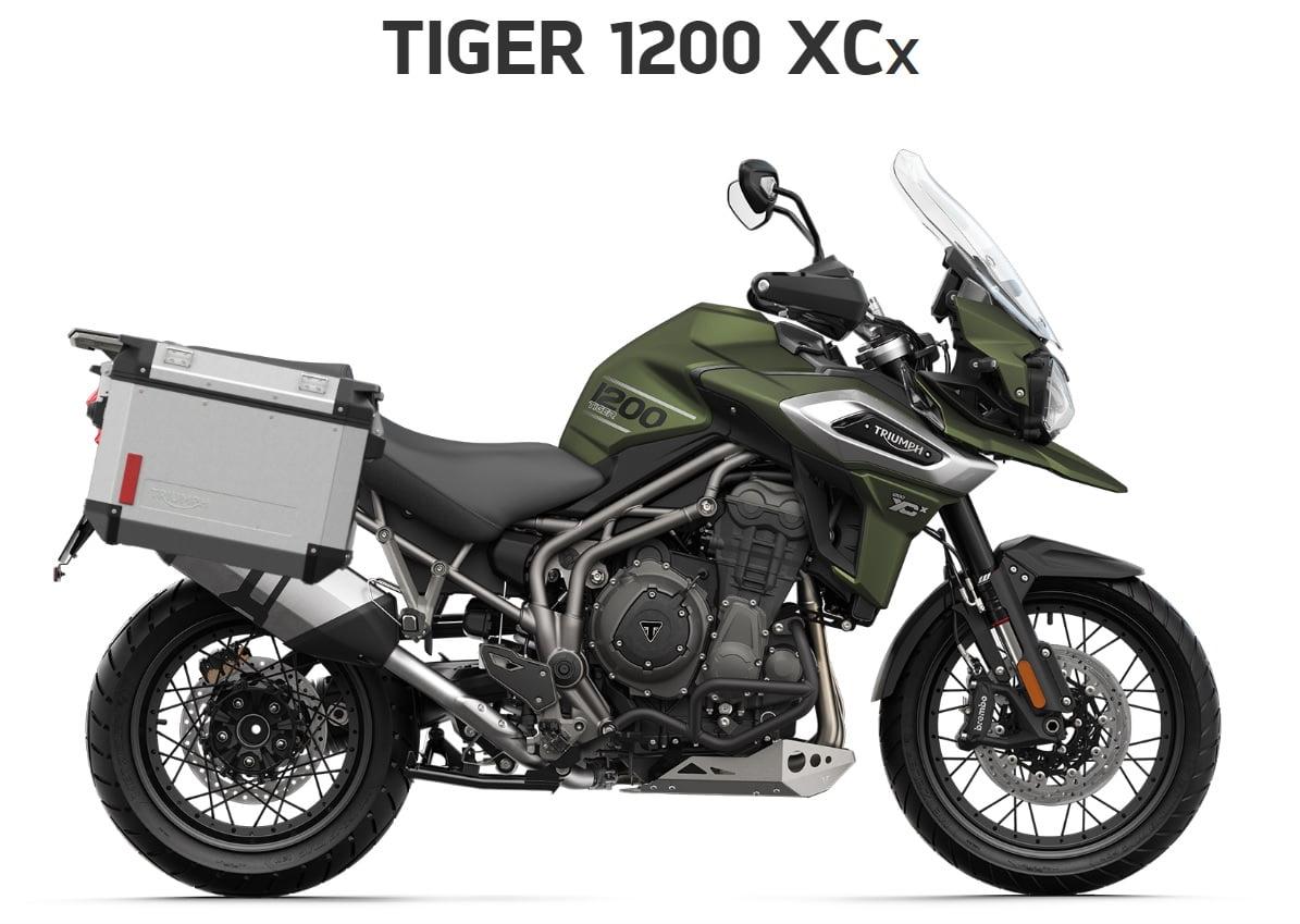 Triumph Tiger 1200 XCX  Farba: matná khaki zelená  Stav km: 0  Cenníková cena motocykla vrátane doplnkov: 19 029,- €. Akciová cena vrátane doplnkov: 17 794,-€. Doplnky v hodnote 1235 ,- € v cene…
