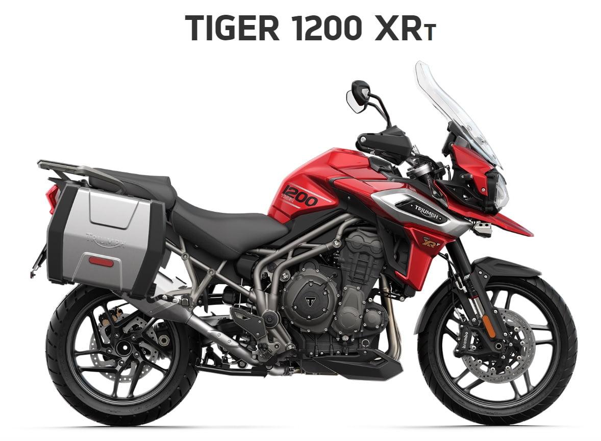 Triumph Tiger 1200 XRT  Farba: červená  Stav km: 0  Cenníková cena motocykla vrátane bočných kufrov: 19 432,- €. Akciová cena vrátane bočných kufrov: 18395,- €. Bočné kufre v hodnote1037 ,- € v cene…