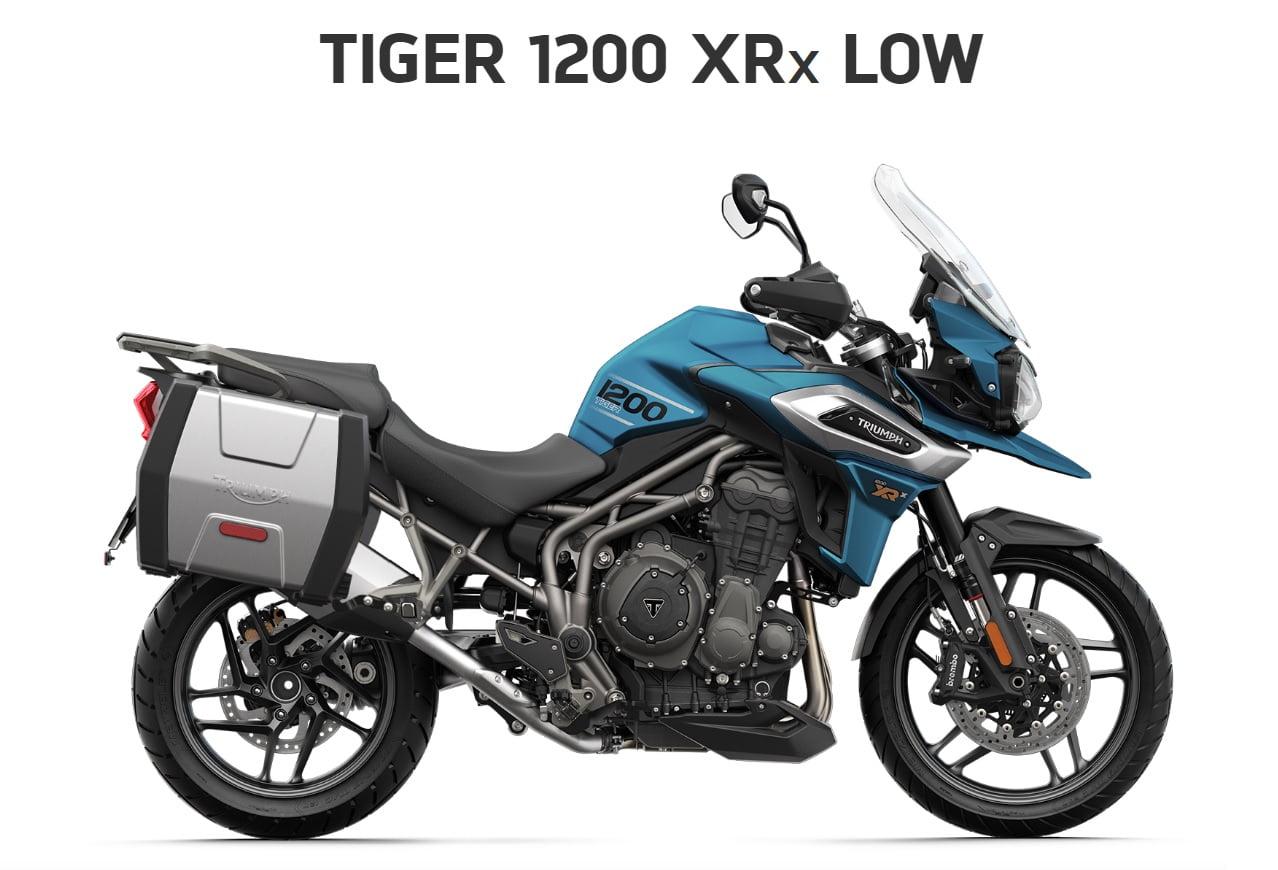 Triumph Tiger 1200 XRX low seat  Farba: matná cobalt modrá  Stav km: 0  Cenníková cena motocykla vrátane doplnkov: 17 874,- €. Akciová cena vrátane doplnkov: 16 639,-€. Doplnky v hodnote 1235 ,- €…
