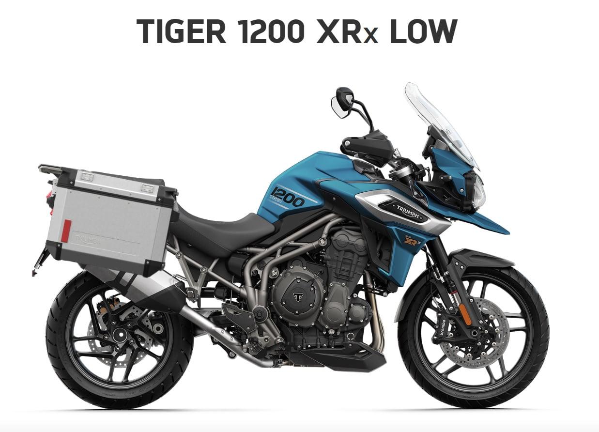 Triumph Tiger 1200 XRX low seat  Farba: matná cobalt modrá  Stav km: 0  Cenníková cena motocykla vrátane bočných kufrov: 17 874,- €. Akciová cena vrátane bočných kufrov: 16 639,-€. Bočné kufre v hodnote…