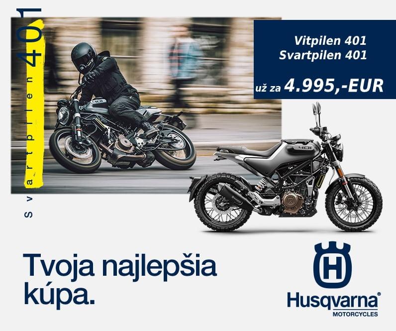 Mimoriadna ponuka na modely Husqvarna Svartpilen a Vitpilen 401. Obidva najmenšie Street modely od Husqvarny môžete získať teraz s cenovým zvýhodnením viac ako 500,-EUR.  Pôvodná cenníková cena 5520,- EUR. Aktuálna akciová…