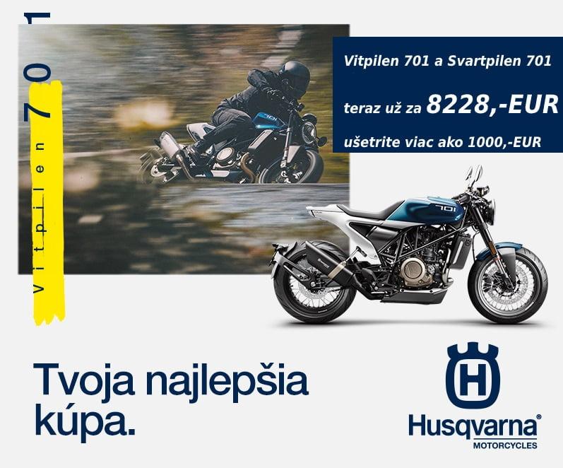 Mimoriadna ponuka na modely Husqvarna Svartpilen a Vitpilen 701. Obidva väčšie Street modely od Husqvarny môžete získať teraz s cenovým zvýhodnením viac ako1 000,-EUR.  Pôvodná cenníková cena 9 260,- EUR. Aktuálna…